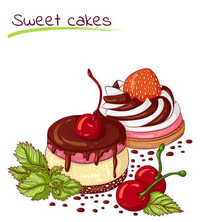 Sweet cakes with cherry