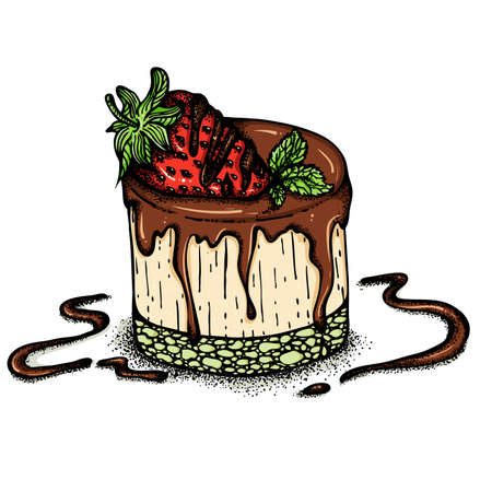 Cake with strawberries Ilustrace