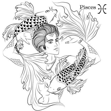 Pisces line art Illustration