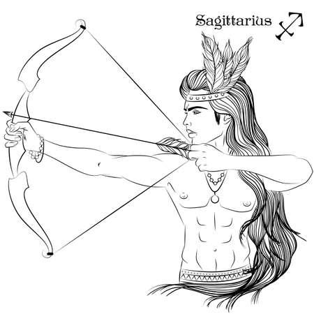 Sagittarius line art Vettoriali