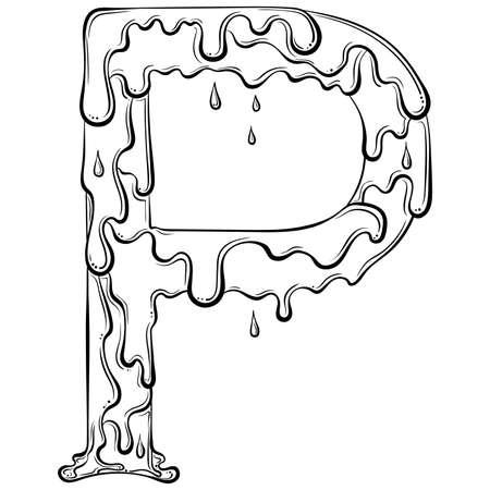 Letter P with flow drops Illusztráció