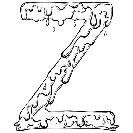 Letter Z with flow drops