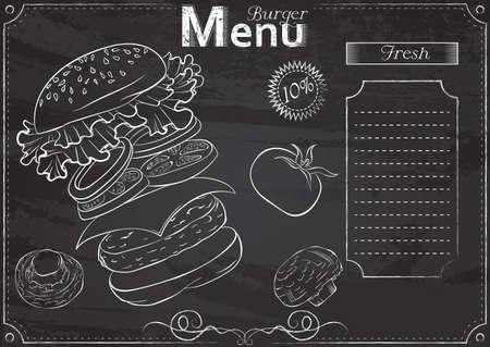 Burger menu chalk 矢量图像