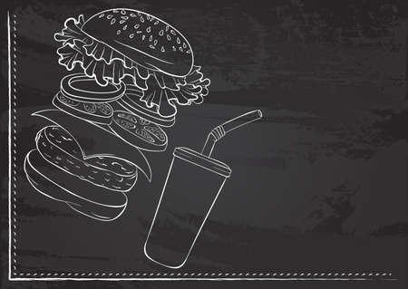 Burger ingredients chalk