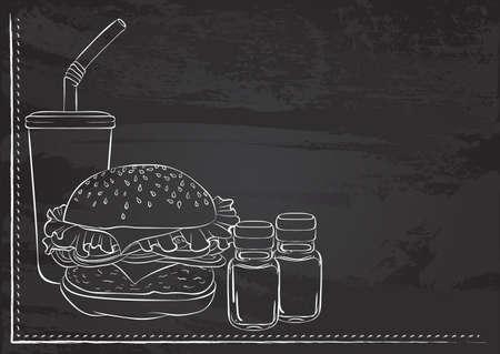 Burger still life chalk
