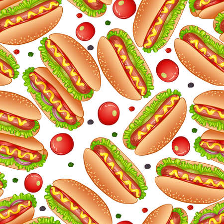Fast food Hot Dog seamless pattern