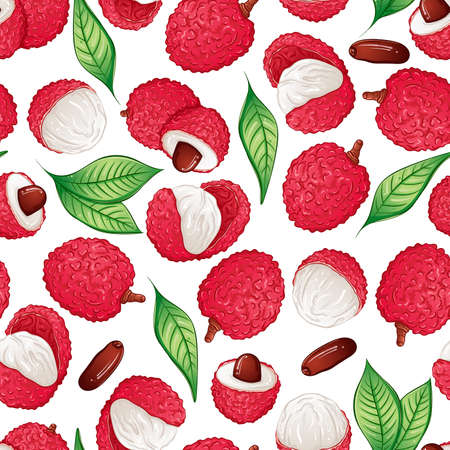 Exotic lychee fruit seamless pattern 矢量图像