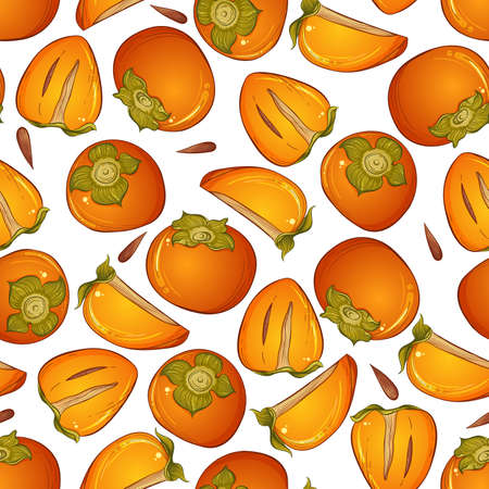 Ripe persimmon seamless pattern