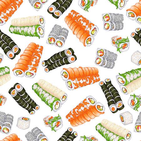 Sushi rolls seamless pattern