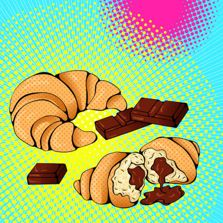 Croissant and chocolate 矢量图像