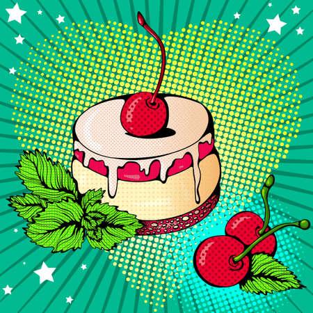 Cherry dessert bright colored 矢量图像