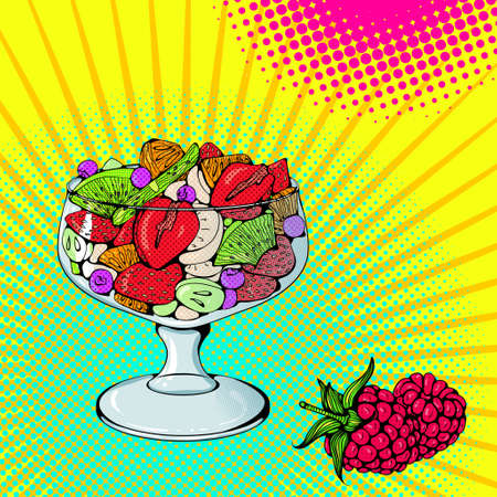 Fruit salad bright colored 矢量图像