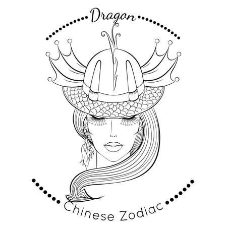 Chinese zodiac line art Dragon 矢量图像