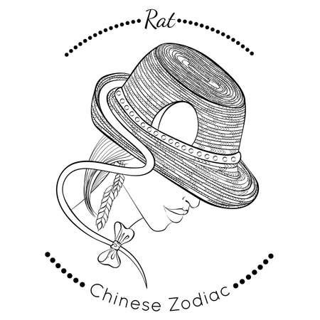 Chinese zodiac line art Rat 矢量图像