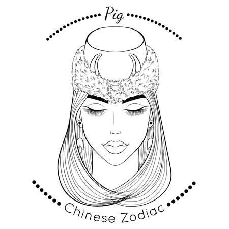 Chinese zodiac line art Pig 矢量图像
