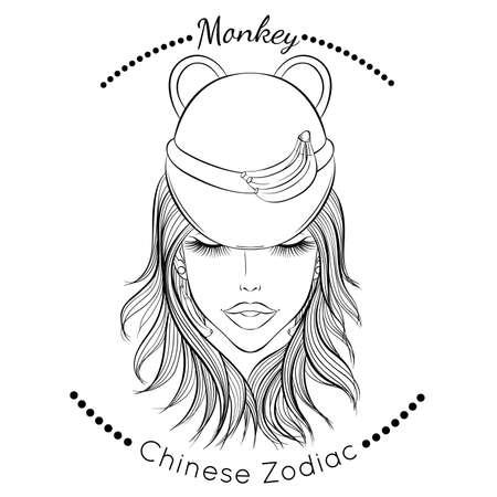 Chinese zodiac line art Monkey 矢量图像