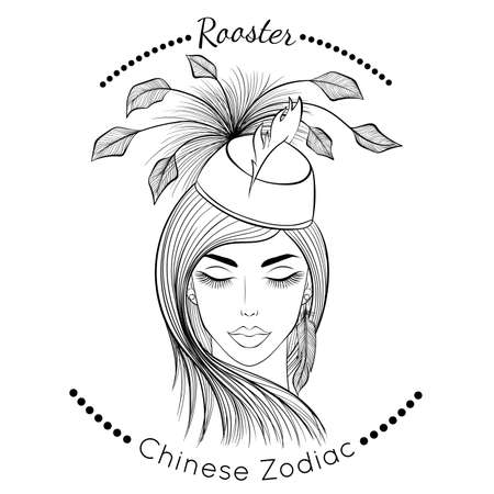 Chinese zodiac line art Rooster 矢量图像