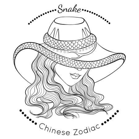 Chinese zodiac line art Snake