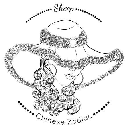 Chinese zodiac line art Sheep 矢量图像