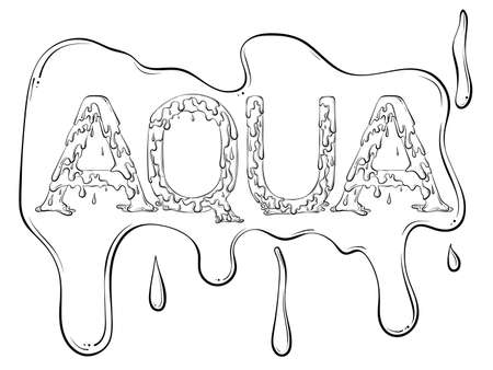 Lettering dripping word Aqua