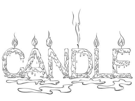 Lettering dripping word Candle 矢量图像