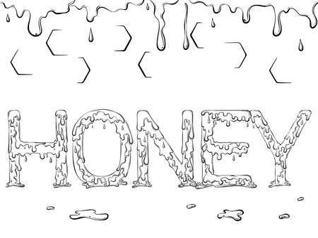 Lettering dripping word Honey