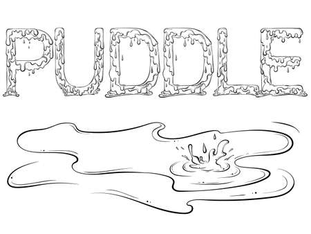 Lettering dripping word Puddle