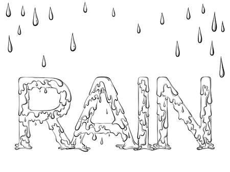 Lettering dripping word Rain 矢量图像