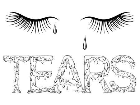 Lettering dripping word Tears 矢量图像