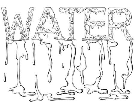 Lettering dripping word Water 矢量图像
