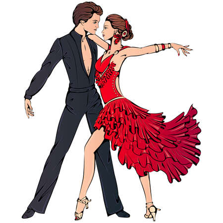 Young couple dancing ballroom latin dance