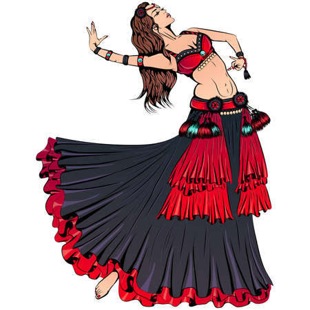 Young dancer dancing tribal belly dance Ilustración de vector