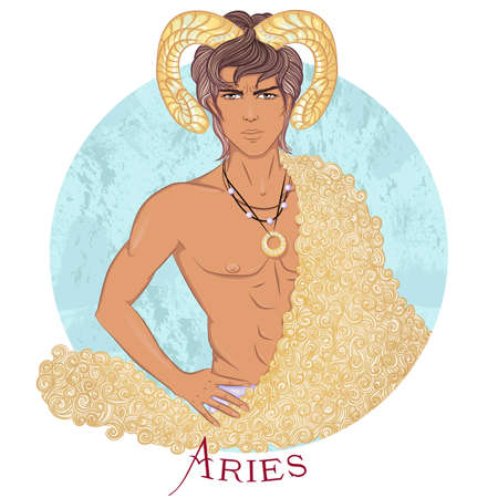 Aries as a beautiful man with swarthy skin