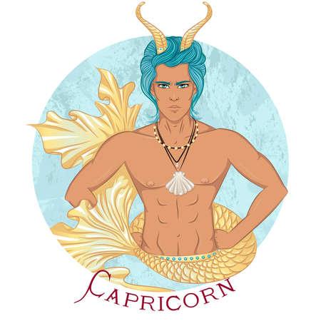 Capricorn as a beautiful man with swarthy skin