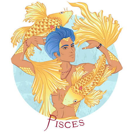 Pisces as a beautiful man with swarthy skin