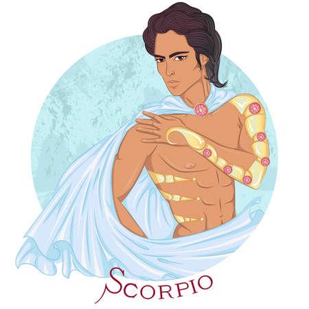 Scorpio as a beautiful man with swarthy skin