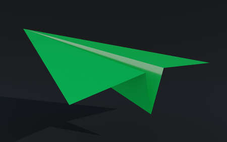 3D illustration paper plane taking off on a black background Banco de Imagens