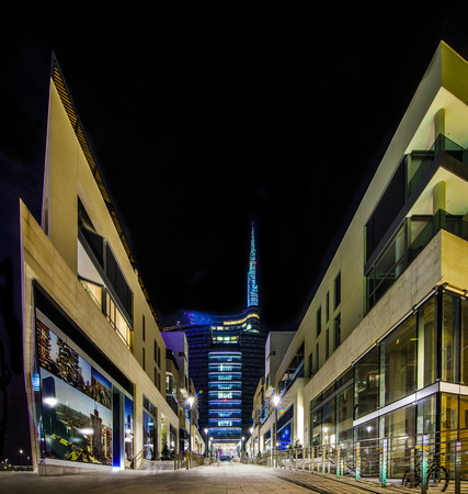 modern street in Milan by night
