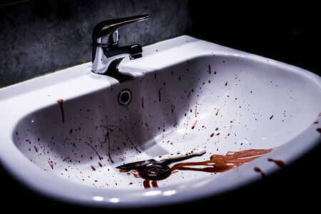 blood and knife in a sink photo