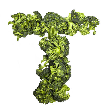Broccoli letter T on white background, high contrast