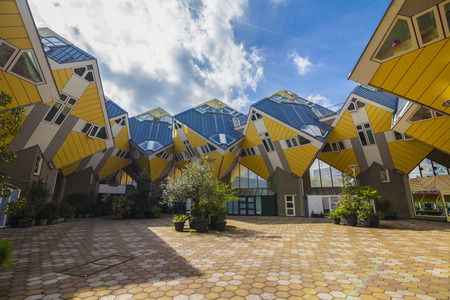 Innovative yellow cubic houses built in Rotterdam