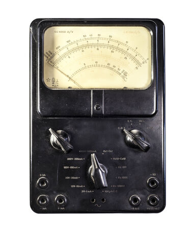 ammeter: Old ammeter isolated on a white background