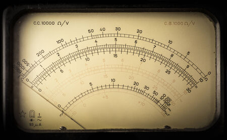 macroshot: Macro-shot of a meter section from a vintage analog electric meter