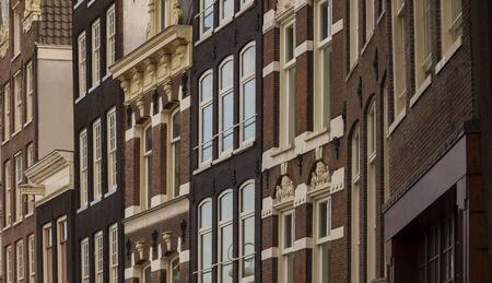 dutch typical: Typical architecture of dutch buildings front in Amsterdam