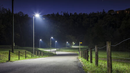 Night road with curves and street lamp. A green field around the road Foto de archivo