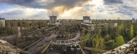 Wide angle view of Pripyat from Polissya Hotel. Chernobyl nuclear power plant zone of alienation