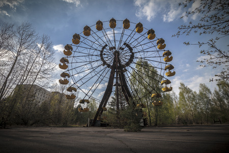 pripyat: The abandoned Ferris wheel in the amusement park in Pripyat. Chernobyl nuclear power plant zone of alienation Stock Photo