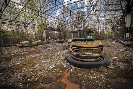 Abandoned bumper cars in the amusement park in Pripyat. Chernobyl nuclear power plant zone of alienation