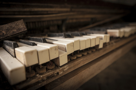pripyat: Close-up of an old piano keyboard. Chernobyl nuclear power plant zone of alienation Stock Photo