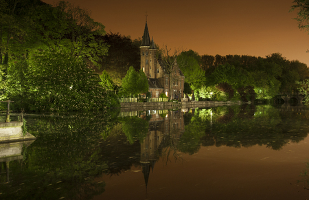nocturnal: Nocturnal view of Minnewaterpark, Also known as the lake lovers in Bruges (Belgium) Stock Photo